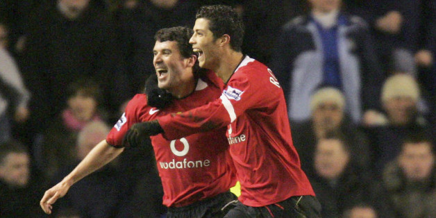 Ronaldo celebrates scoring at Everton in the FA Cup with Keane back in February 2005