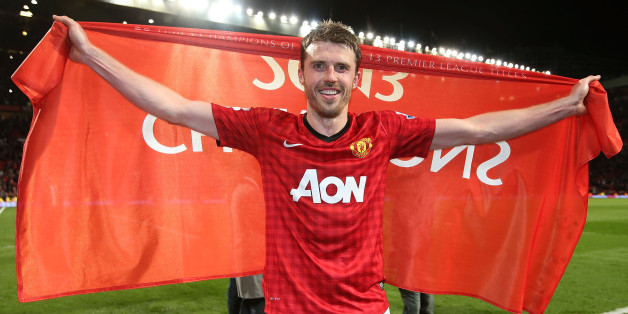MANCHESTER, ENGLAND - APRIL 22:  Michael Carrick of Manchester United celebrates at final whistle of the Barclays Premier League match between Manchester United and Aston Villa at Old Trafford on April 22, 2013 in Manchester, England.  (Photo by Matthew Peters/Man Utd via Getty Images)