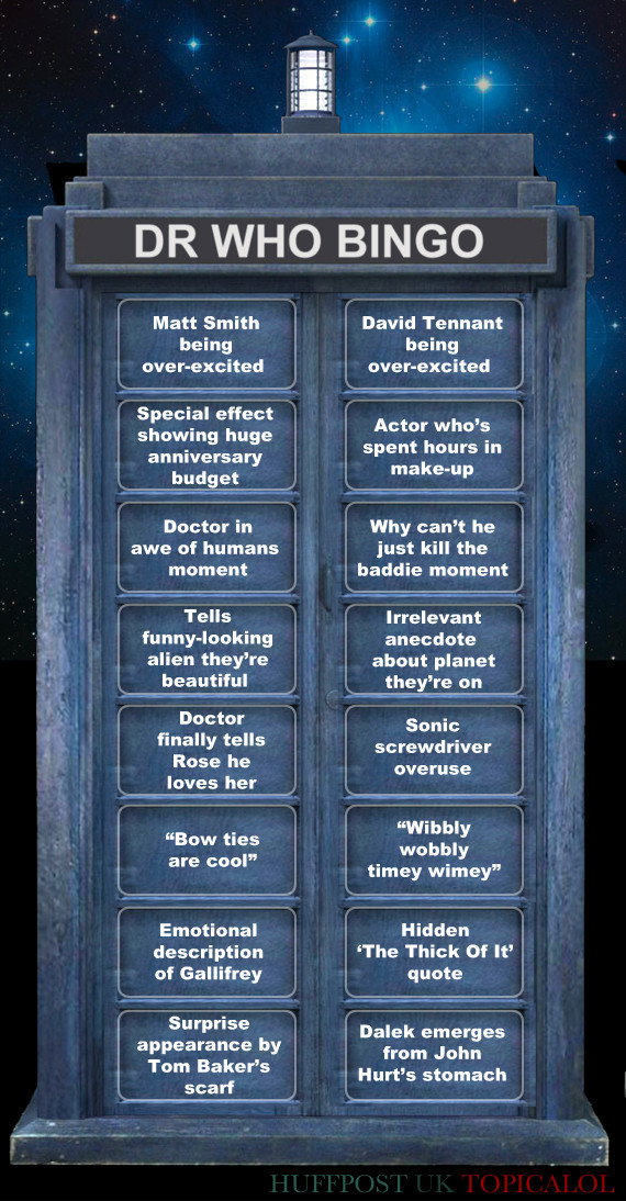 Doctor Who 50 Bingo Card