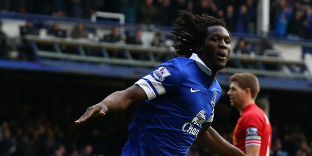 LIVERPOOL, ENGLAND - NOVEMBER 23:  Romelu Lukaku of Everton celebrates scoring his team's second goal during the Barclays Premier League match between Everton and Liverpool at Goodison Park on November 23, 2013 in Liverpool, England.  (Photo by Alex Livesey/Getty Images)