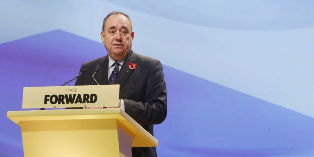 First Minister Alex Salmond addresses the SNP annual conference at Perth Concert Hall in Scotland.