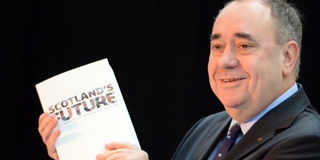GLASGOW, SCOTLAND - NOVEMBER 26: Scottish First Minister Alex Salmond presents the White Paper for Scottish independance at the Science Museum Glasgow on November 26, 2013 in Glasgow, Scotland. The 670 page document details plans for an independent Scotland, covering proposals for currency, EU membership and defense amongst other topics. The paper, entitled 'Scotland's future: Your guide to an independent Scotland' is launched ahead of the referendum for independence, which will take place on 18