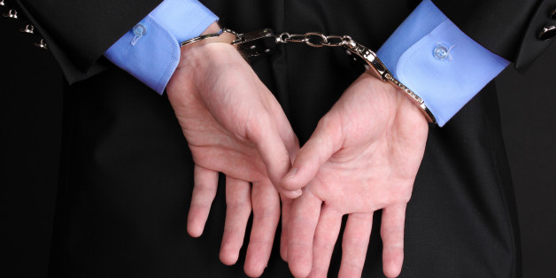 businessman hands fettered with ...