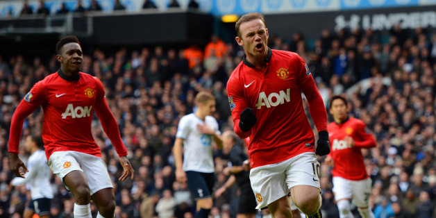 LONDON, ENGLAND - DECEMBER 01:  Wayne Rooney of Manchester United celebrates scoring their second goal from the penalty spot during the Barclays Premier League Match between Tottenham Hotspur and Manchester United at White Hart Lane on December 1, 2013 in London, England.  (Photo by Michael Regan/Getty Images)