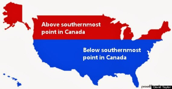 Canada-U.S. Latitude Graphic Challenges Our Assumptions About ...