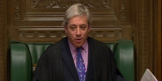 Speaker of the House of Commons John Bercow gestures during Prime Minister's Questions in the House of Commons, London.