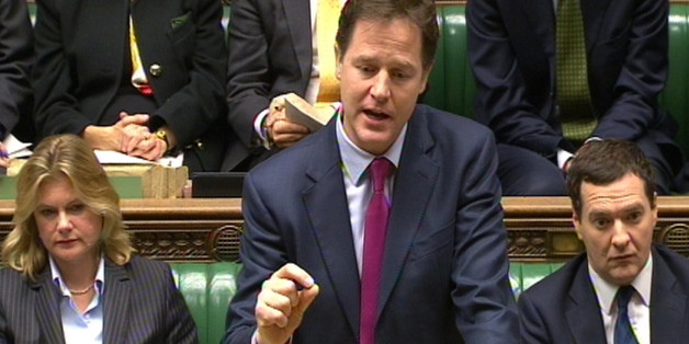 Deputy Prime Minister Nick Clegg speaks during Prime Minister's Questions in the House of Commons, London.