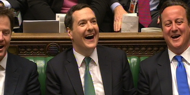 Chancellor of the Exchequer George Osborne and Prime Minister David Cameron react as Shadow Chancellor Ed Balls responds to the Autumn Statement delivered to MP's by George Osborne in the House of Commons, central London.