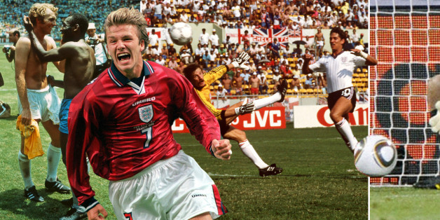 SAPPORO - JUNE 7:  David Beckham of England celebrates in front of England fans after winning the Group F match against Argentina at the World Cup Group Stage  played at the Sapporo Dome, Sapporo, Japan on June 7, 2002.  England won the match 1-0. (Photo by Stu Forster/Getty Images)