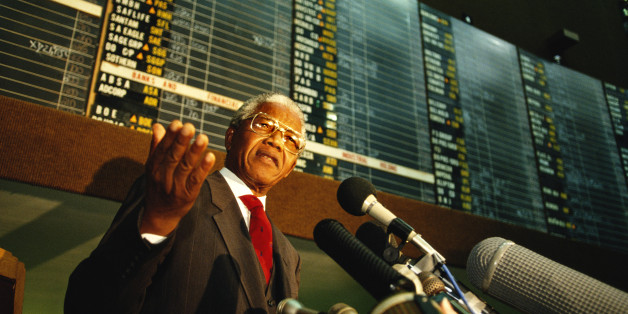 JOHANNESBURG, SOUTH AFRICA - SEPTEMBER 1994:  Nelson Mandela, President of South Africa, addresses stockbrokers at the Johannesburg stock exchange. (Photo by Tom Stoddart/Getty Images)