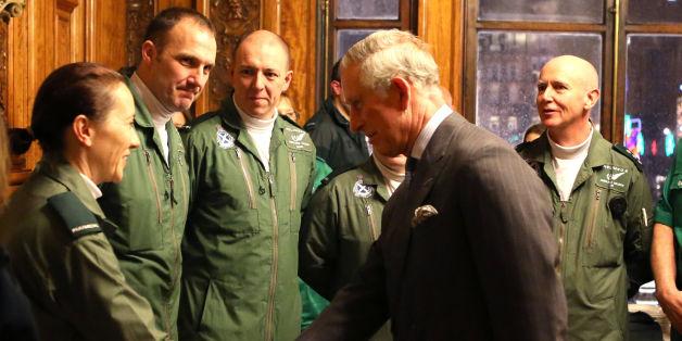 Prince Charles meets air ambulance paramedics at a reception at the City Chambers in Glasgow