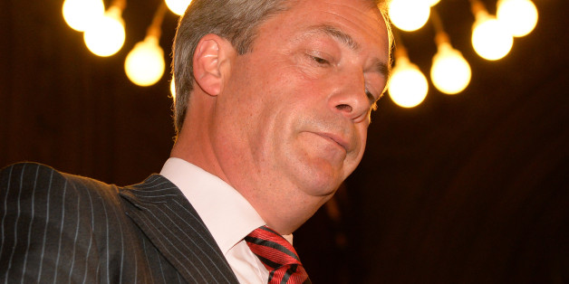 UK Independence Party (UKIP) leader Nigel Farage addresses the Bruges Group in Manchester Town Hall in north-west England, on September 30, 2013. AFP PHOTO/Leon Neal        (Photo credit should read LEON NEAL/AFP/Getty Images)
