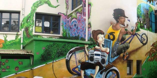 Graffiti de Saile One. Ce graffeur chilien sera présent à Kasserine
