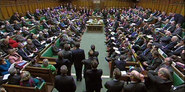 The Debating Chamber during Prime Minister's Questions in the House of Commons, London.