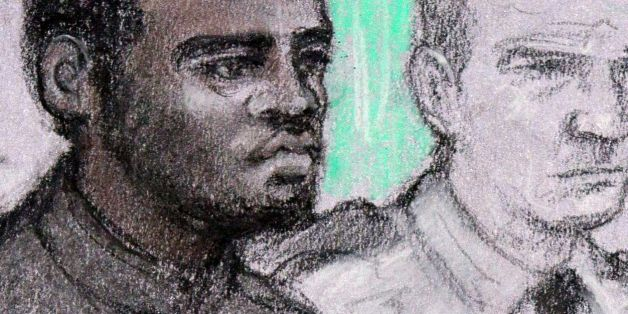 Court artist sketch by Elizabeth Cook of of the two men accused of the murder of soldier Fusilier Lee Rigby, Michael Adebolajo (left) and Michael Adebowale (right) during their hearing at the Old Bailey.