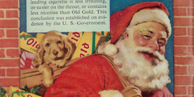 "Vintage 1950s Christmas advertisement, Old Gold cigarettes, 1952Tagline:""Delivering 'just what you've always wanted' -- a Treat instead of a Treatment - Old Golds""Published in Quick news weekly magazine, December 22, 1952, Vol. 7, No. 25Fair use/no known copyright. If you use this photo, please provide attribution credit; not for commercial use (see Creative Commons license)."