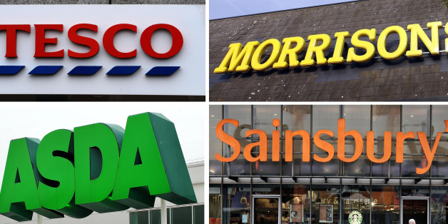 Undated file photos of the logos for Tesco, Morrisons, Asda and Sainsbury's. Rival supermarkets took a further slice out of Tesco's market dominance during the key Christmas battleground period, figures suggested today.