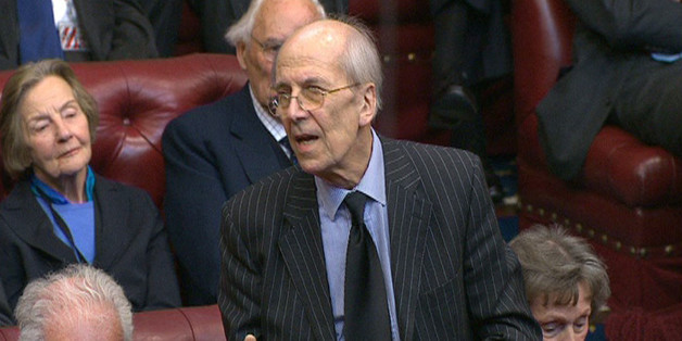 Lord Tebbit speaks during a tribute to Baroness Margaret Thatcher in the House of Lords in London.