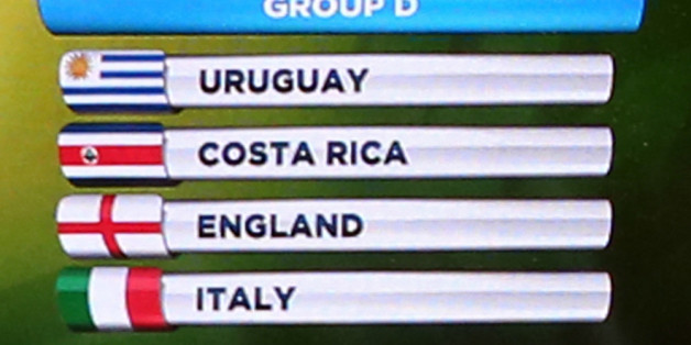 Group D containing Uruguay, Costa Rica, England and Italy