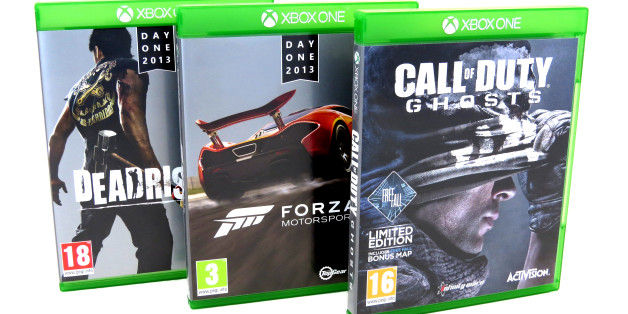 General view of XBOX ONE console games. DeadRising 3, Call Of Duty GHOSTS and FORZA MOTORSPORTS.
