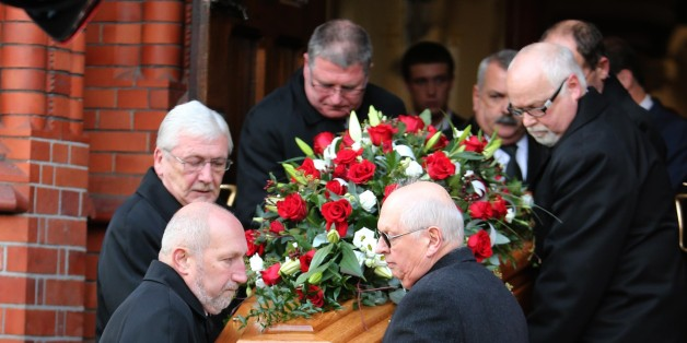 The funeral of former Manchester United player Bill Foulkes at St Vincent De Paul RC Church, Altrincham, Cheshire.