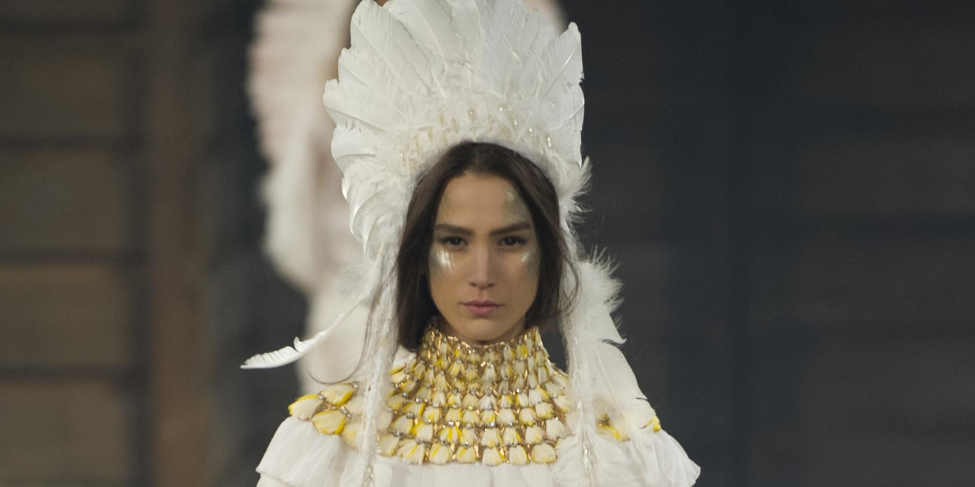 chanel u0027s native american headdress on runway raises eyebrows