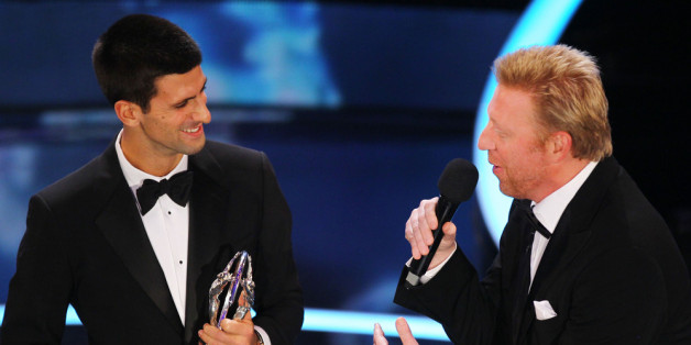 LONDON, ENGLAND - FEBRUARY 06:  Academy member Boris Becker speaks to tennis player Novak Djokovic winner of the Laureus World Sportsman of the Year on stage at the 2012 Laureus World Sports Awards at Central Hall Westminster on February 6, 2012 in London, England.  (Photo by Matthew Lewis/Getty Images for Laureus)