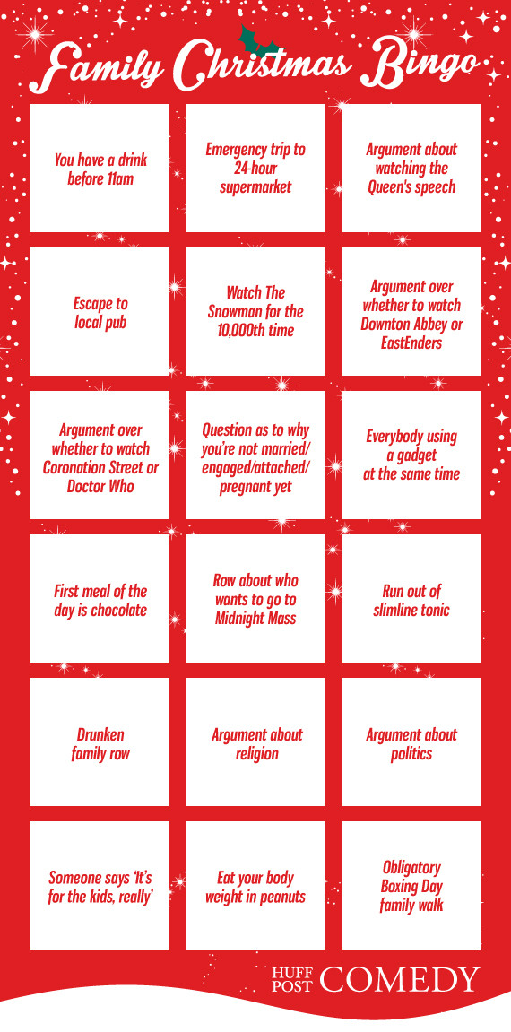 Family Christmas Bingo Card Huffpost Uk