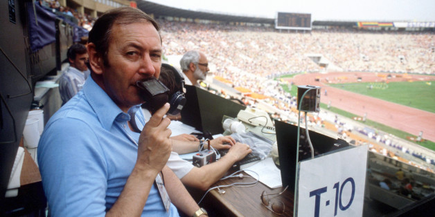 BBC commentator David Coleman in the Lenin Stadium, Moscow.