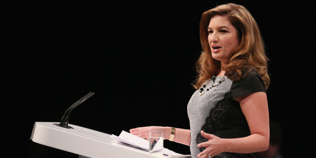 MANCHESTER, ENGLAND - SEPTEMBER 30:  Businesswoman Karren Brady addresses the audience in the Main Hall of Manchester Central on the second day of the Conservative Party Conference on September 30, 2013 in Manchester, England. Chancellor of the Exchequer George Osborne has unveiled a Government plan for long-term unemployed people to undertake work placements in order to receive their benefits.  (Photo by Oli Scarff/Getty Images)