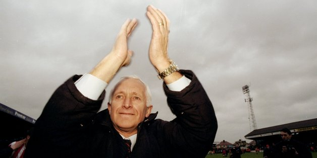 8 May 1999:  Ron Noades Brentford Chairman celebrates winning the Championship after the Nationwide Division Three match against Cambridge played in Cambridge, England.  The match finished in a 0-1 win to Brentford. \ Mandatory Credit: Allsport UK /Allsport