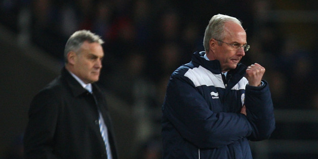 CARDIFF, WALES - FEBRUARY 22:  Cardiff City manager Dave Jones (l) and Leicester City manager Sven Goran Eriksson look on during the npower Championship match between Cardiff City and Leicester City at Cardiff City Stadium on February 22, 2011 in Cardiff, Wales.  (Photo by Stu Forster/Getty Images)