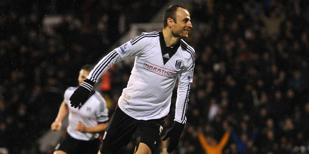 Fulham's Dimitar Berbatov celebrates scoring his side's second goal