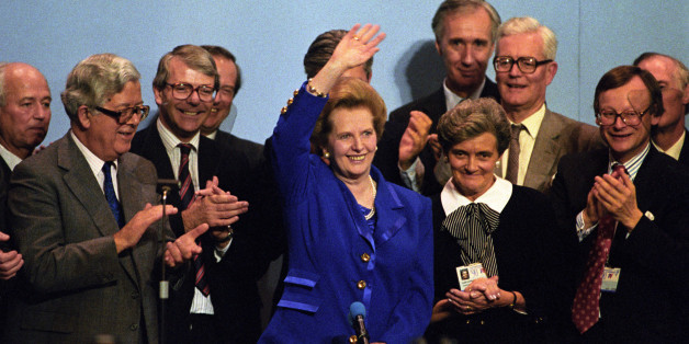 Margaret Thatcher at the end of the Conservative Party conference with Dame Margaret Fry, Chairman of the Conference, and the Prime Minister's Cabinet.