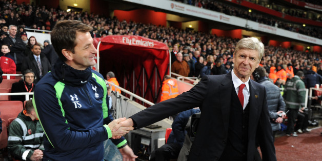 LONDON, ENGLAND - JANUARY 04:  Arsene Wenger the Arsenal Manager shakes hands with Tim Sherwood the Tottenham Manager before the FA Cup 3rd Round match between Arsenal and Tottenham Hotspur at Emirates Stadium on January 4, 2014 in London, England.  (Photo by David Price/Arsenal FC via Getty Images)
