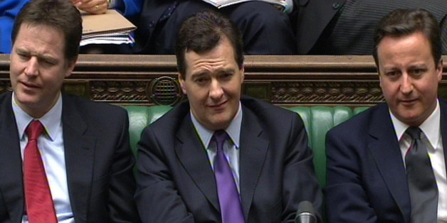 Deputy Prime Minister Nick Clegg (left), Chancellor George Osborne (centre) and Prime Minister David Cameron listen to Labour Leader Ed Miliband's response to the Chancellor's Budget in the House of Commons, London.