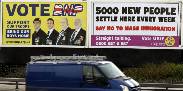 LONDON, ENGLAND - APRIL 10: A van drives past posters encouraging voters to support the British National Party (BNP) and the UK Independence Party (UKIP) in Newham on April 10, 2010 in London, England. BNP leader Nick Griffin is attempting to unseat the Labour MP Margaret Hodge in the constituency of Barking and Dagenham. (Photo by Oli Scarff/Getty Images)