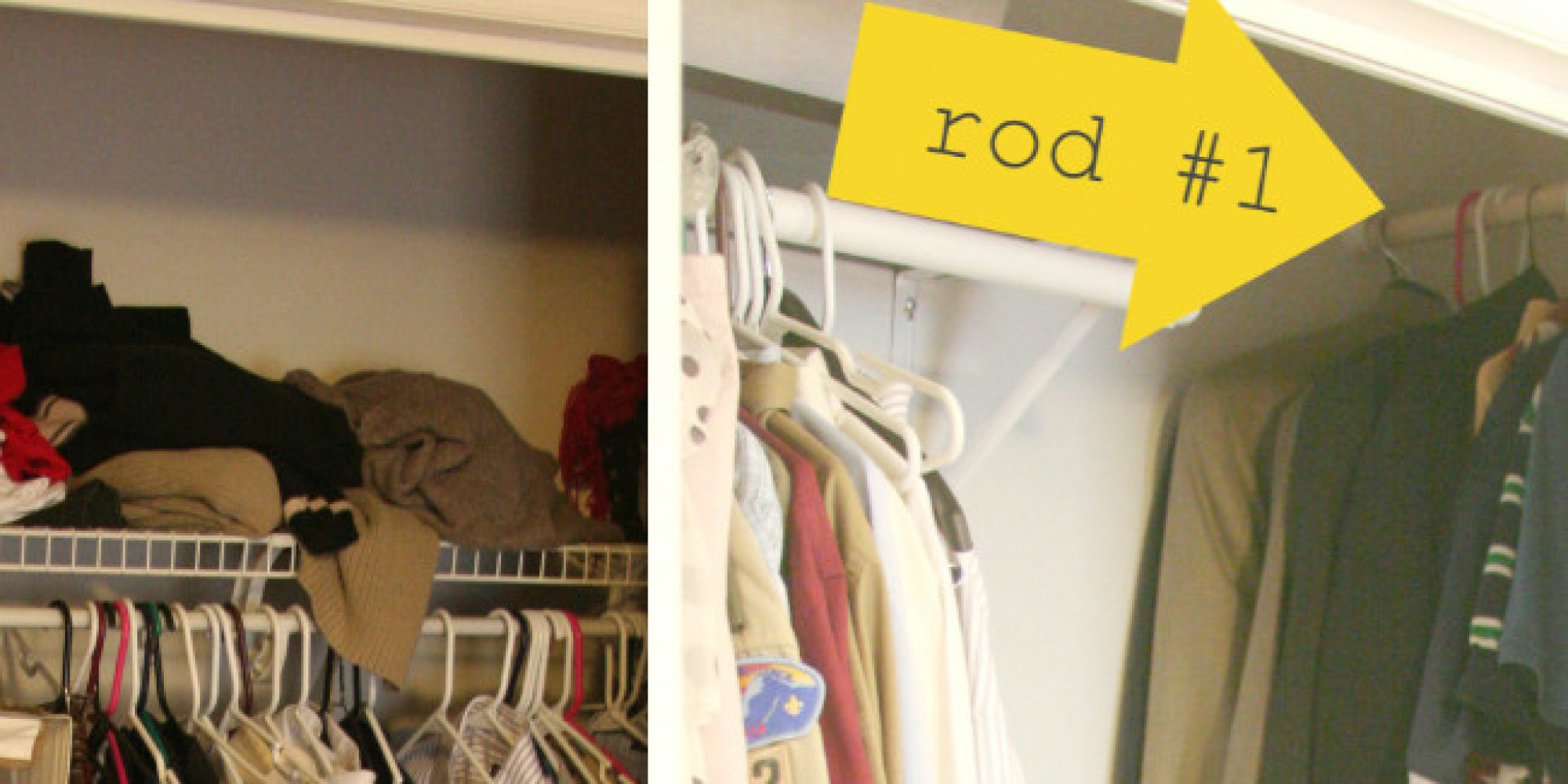 7 awesome organizing hacks for your tiny closet huffpost No closet hanging solutions