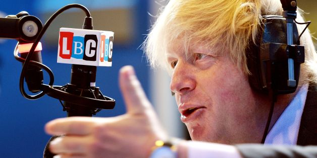 The Mayor of London Boris Johnson responds during his appearance on the LBC 97.3 radio phone-in show, hosted by Nick Ferrari in the LBC studios in Leicester Square central London.