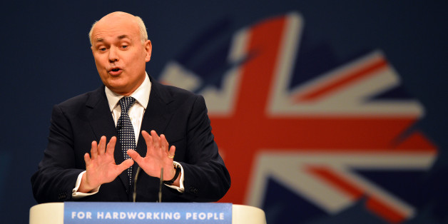 Iain Duncan-Smith, Secretary of State for Work and Pensions, addresses delegates at the annual Conservative Party Conference in Manchester, north-west England on October 1, 2013. AFP PHOTO/Paul Ellis        (Photo credit should read PAUL ELLIS/AFP/Getty Images)