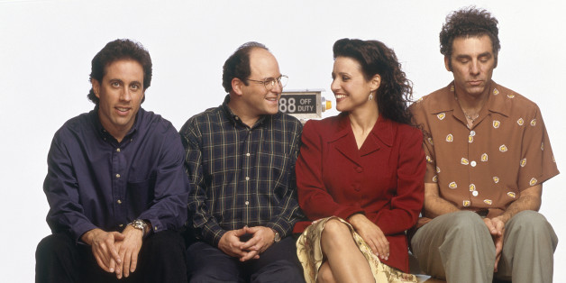 """Seinfeld"" almost had an episode about gun ownership. From left to right: Jerry Seinfeld, Jason Alexander as George Costanza, Julia Louis-Dreyfus as Elaine Benes, Michael Richards as Cosmo Kramer. (George Lange/NBC/NBCU Photo Bank via Getty Images)"