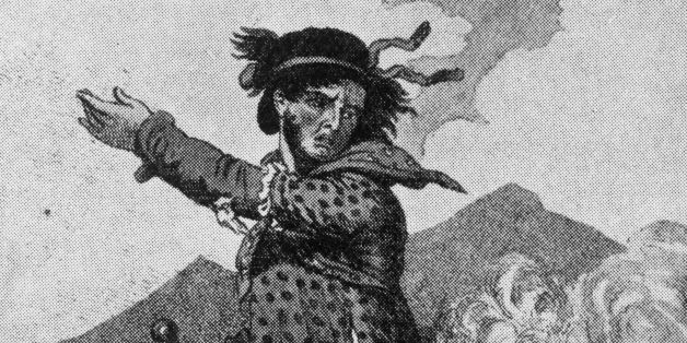 A cartoon showing a luddite leader dressed as a woman. This is possibly a Tory caricature comparing the Luddites to the mobs in the French Revolution, whose leaders dressed as women at the storming of the bastille and the visit to Versailles, in order to avoid being beaten down by the Royal soldiers.   (Photo by Henry Guttmann/Getty Images)