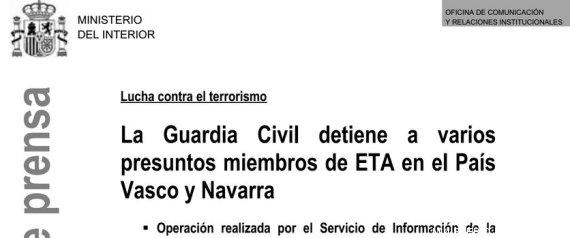 nota interior guardia civil