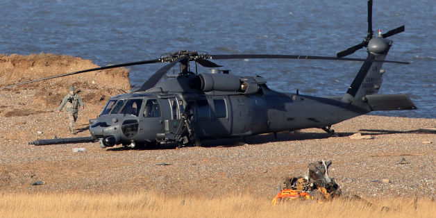 The wreckage of the Pave Hawk helicopter that crashed on Tuesday