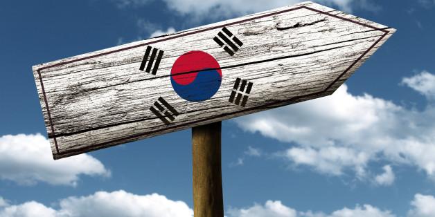 south korea flag wooden sign...