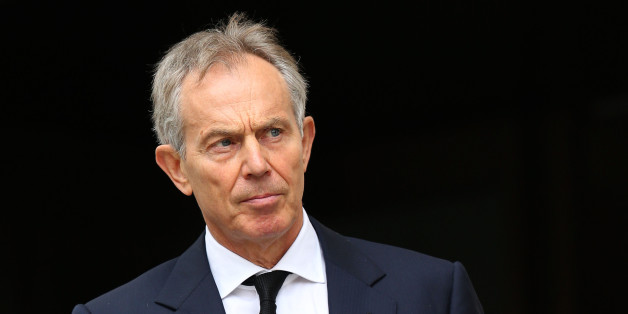 Former Prime Minister Tony Blair leaves the Ceremonial funeral of former British Prime Minister Baroness Thatcher at St Paul's Cathedral.