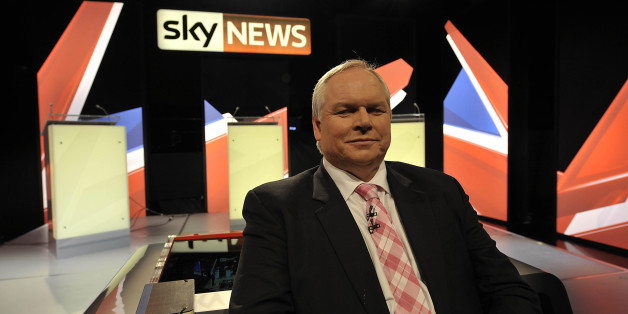 Sky News presenter Adam Boulton on the newly erected set inside the studio in Bristol where he will moderate the live election debate with all three leading party leaders tomorrow.