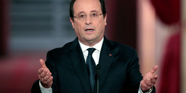 PARIS, FRANCE - JANUARY 14:  French president Francois Hollande speaks during a press conference to present his 2014 policy plans at the Elysee presidential palace on January 14, 2014, in Paris, France.  (Photo by Chesnot/WireImage)