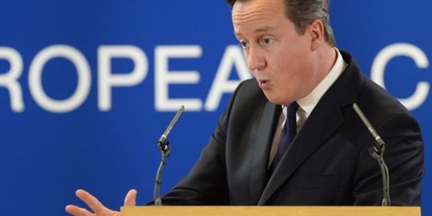 British Prime Minister David Cameron gives a press conference after an EU summit focused on the common security, Defence policy and Economic and Monetary union, in Brussels on December 20, 2013. European leaders have put the economic crisis behind them by agreeing a landmark bank deal, but stumbled on deeper economic reforms and defence policy, highlighting the tough road to greater EU integration.          AFP PHOTO / ALAIN JOCARD        (Photo credit should read ALAIN JOCARD/AFP/Getty Images)
