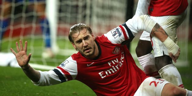 Arsenal's Nicklas Bendtner celebrates scoring during the Barclays Premier League match at the Emirates Stadium, London.
